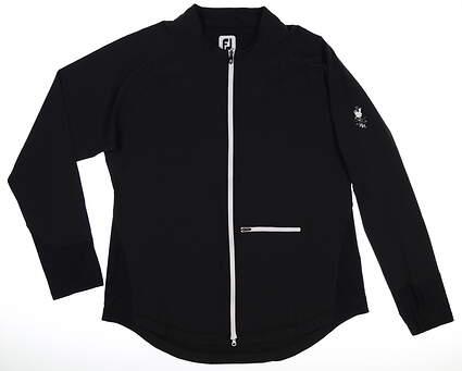 New W/ Logo Womens Footjoy Full Zip Mock Neck X-Large XL Black MSRP $120 27545