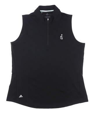 New W/ Logo Womens Adidas Sleeveless Golf Polo X-Large XL Black MSRP $60 FP7073