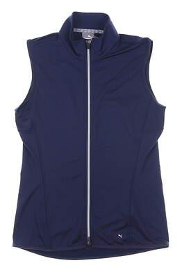 New Womens Puma Full Zip Knit Vest Small S Navy Blue MSRP $70 595446