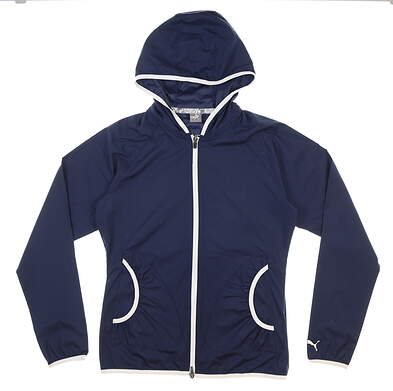New Womens Puma Zephyr Wind Jacket Small S Navy Blue MSRP $75 577942