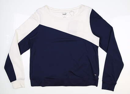 New Womens Puma Long Sleeve Crew Neck Small S Navy Blue MSRP $70 597713
