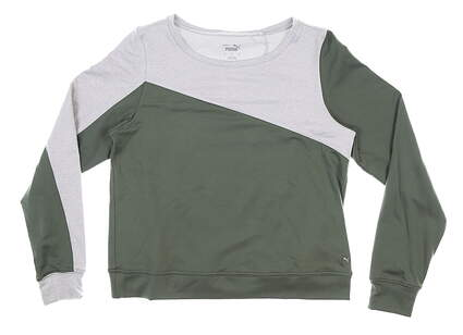 New Womens Puma Long Sleeve Crew Neck Small S Green MSRP $70 597713