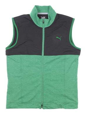 New Mens Puma Cloudspun Warm Up Vest Medium Amazon Green/Black MSRP $80 597127