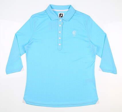 New W/ Logo Womens Footjoy 3/4 Sleeve Polo Small S Blue MSRP $75 27586
