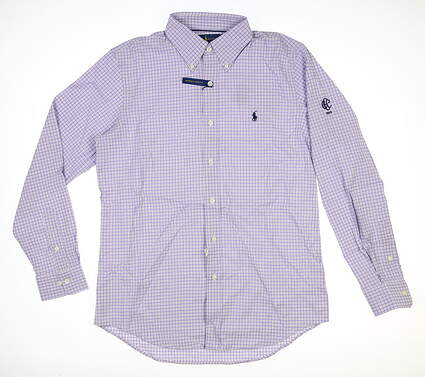 New W/ Logo Mens Ralph Lauren Button Down Medium M Purple MSRP $98