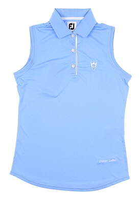 New W/ Logo Womens Footjoy Sleeveless Golf Polo Small S Blue MSRP $45 27075