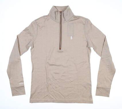 New Womens Ralph Lauren 1/4 Zip Golf Pullover Small S Course Tan MSRP $145