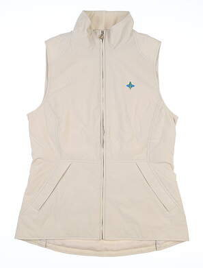 New W/ Logo Womens Peter Millar Vest Small S Tan MSRP $100 LF18Z01