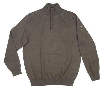 New W/ Logo Mens Ralph Lauren 1/4 Zip Sweater Medium M Brown MSRP $200