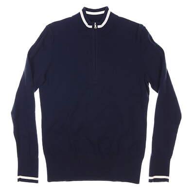 New Womens Cutter & Buck 1/2 Zip Golf Sweater Medium M Navy Blue MSRP $110 LCS00005