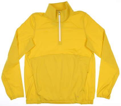 New Mens Puma Cloudspun 1/4 Zip Pullover Small S Super Lemon MSRP $75 597712 04
