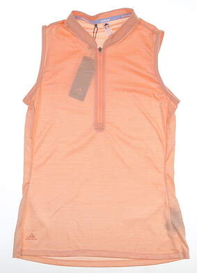 New Womens Adidas Novelty Sleeveless Polo Small S Orange MSRP $60 DZ6307