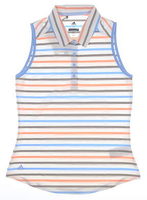 New Womens Adidas Ultimate Stripe Sleeveless Polo Small S Multi MSRP $60 DZ6484