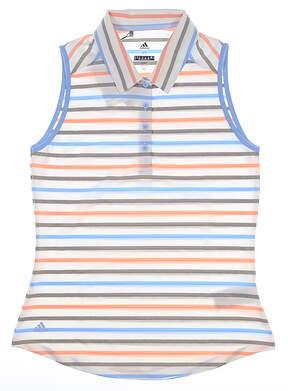 New Womens Adidas Ultimate Stripe Sleeveless Polo Medium M Multi MSRP $60 DZ6484