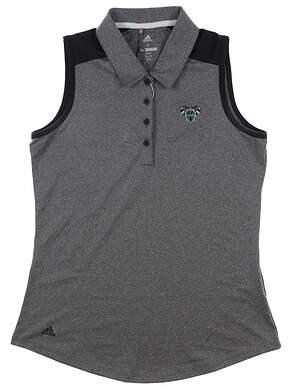 New W/ Logo Womens Adidas Sleeveless Golf Polo Small S Gray MSRP $68 Q0532