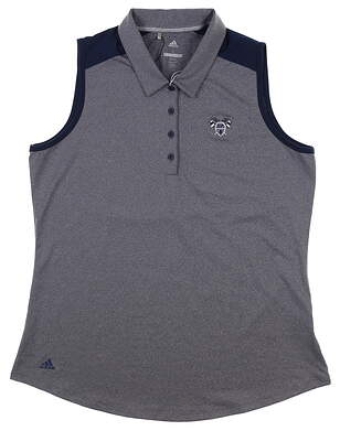 New W/ Logo Womens Adidas Sleeveless Golf Polo Large L Navy Blue MSRP $68 DQ0530