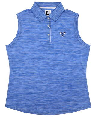 New W/ Logo Womens Footjoy Sleeveless Interlock Polo Large L Blue MSRP $73 25477