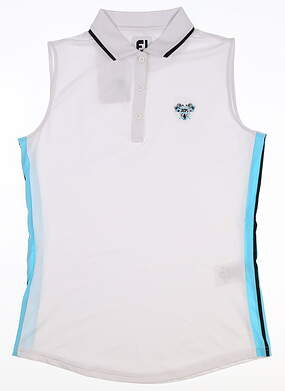 New W/ Logo Womens Footjoy Sleeveless Lisle Golf Polo Small S White MSRP $80