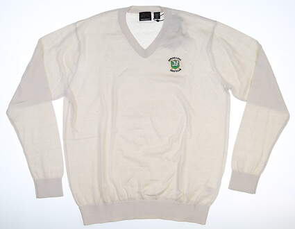 New W/ Logo Mens Greg Norman Natural Performance Sweater Medium Cream MSRP $89 G7F3S165