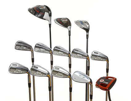 Mens Complete Golf Club Set Right Handed Stiff Flex Taylormade Driver Spider mini Putter Irons Wedge Retail Price $2374 Used Golf Club