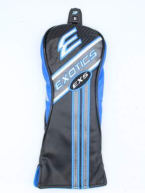 Tour Edge Exotics EXS Fairway Wood Leather Headcover w/Interchangeable Tag Black/Blue