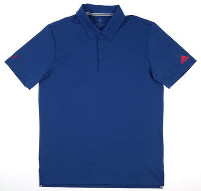 New W/ Logo Mens Adidas Ultimate 2.0 Solid Polo Large L Blue DQ2352