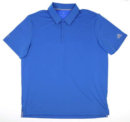 New W/ Logo Mens Adidas Ultimate 2.0 Solid Polo Large L Blue DQ2330
