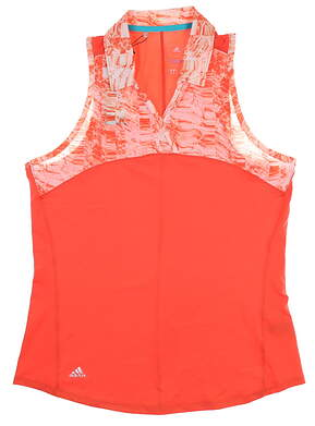 New Womens Adidas Sleeveless Polo Medium M Coral BC3991