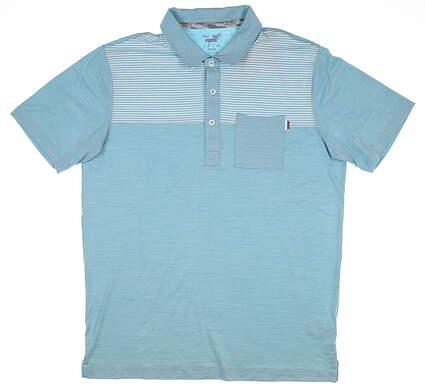 New Mens Puma Cloudspun Pocket Polo Medium M Milky Blue 597578 03 MSRP $65