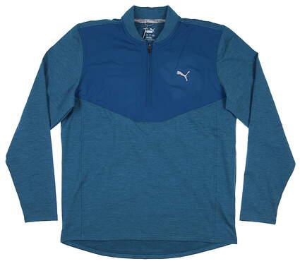 New Mens Puma Cloudspun 1/4 Zip Pullover Medium M Digi-Blue 597588 03 MSRP $75