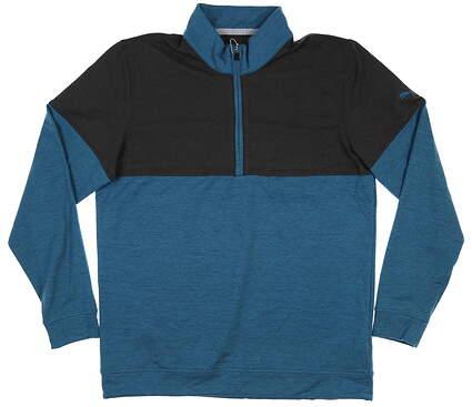 New Mens Puma Warm Up 1/4 Zip Pullover Medium M Digi-Blue/Black 595803 07 MSRP $75