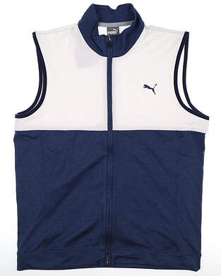New Mens Puma Warm Up Vest Medium M Peacoat/Bright White MSRP $70597127 03