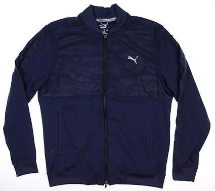 New Mens Puma Cloudspun Camo Jacket Medium M Peacoat MSRP $80 597590 02