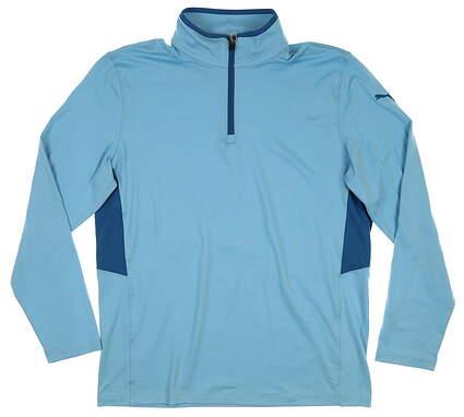New Mens Puma Rotation 1/4 Zip Pullover Medium M Milky Blue 577900 23 MSRP $65
