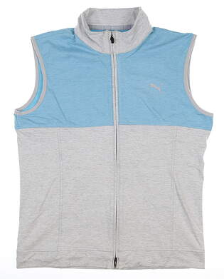 New Mens Puma Warm Up Vest Medium M High Rise/Milky Blue MSRP $70 597127 08