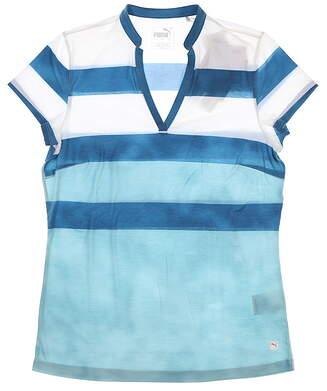 New Womens Puma Dye Stripe Polo Small S Milky Blue 597702 03 MSRP $55