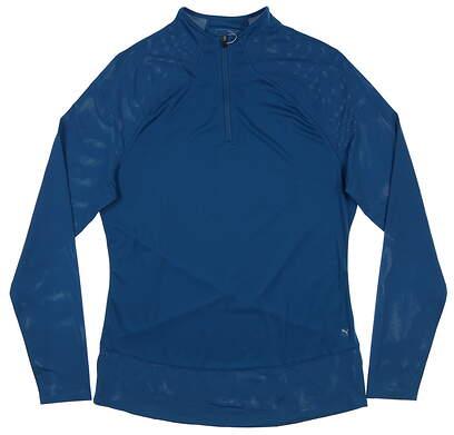 New Womens Puma Mesh 1/4 Zip Pullover Small S Digi-Blue 595848 08 MSRP $70