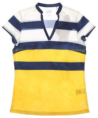 New Womens Puma Dye Stripe Polo Small S Super Lemon 597702 02 MSRP $55