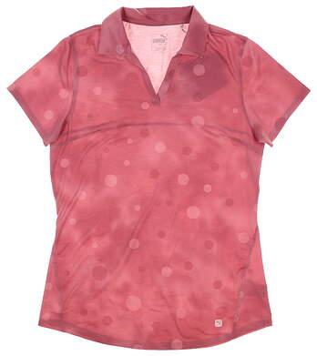 New Womens Puma Polka Dye Polo Small S Rose Wine 597700 01 MSRP $60