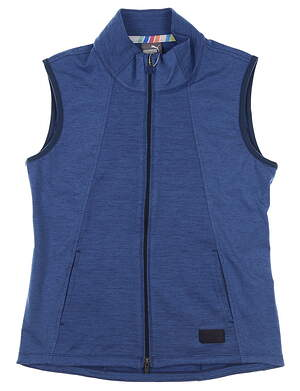 New Womens Puma Cloudspun Warm Up Vest Small S Blue MSRP $70 595852 02