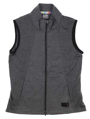New Womens Puma Cloudspun Warm Up Vest Small S Gray MSRP $80 595852 01