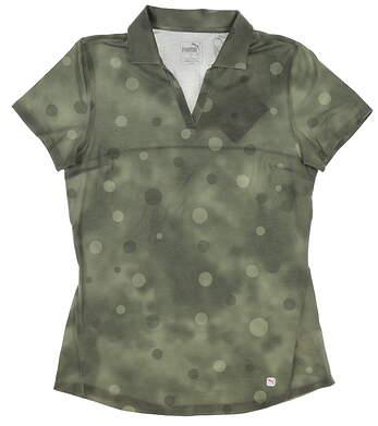 New Womens Puma Polka Dye Polo Small S Thyme 597700 02 MSRP $55