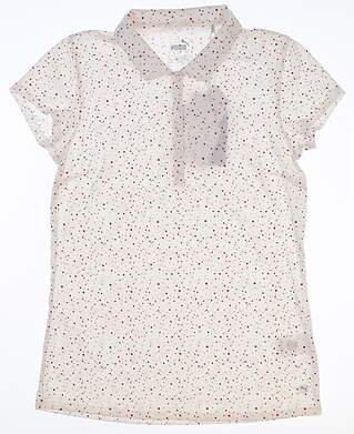 New Womens Puma Polka Dot Polo Small S Bright White 597689 03 MSRP $60