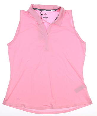 New Womens Adidas Heather Sleeveless Polo Large L True Pink MSRP $60 DP5926