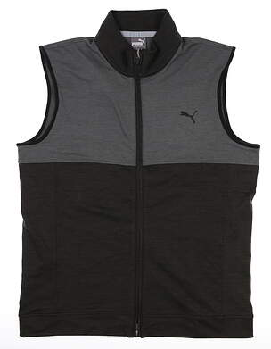 New Mens Puma Warm Up Vest Medium M Puma Black/Quiet Shade MSRP $70 597127 01