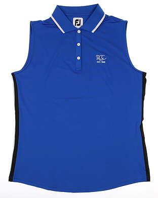 New W/ Logo Womens Footjoy Sleeveless Polo Large L Blue MSRP $70