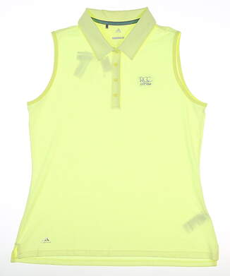 New W/ Logo Womens Adidas Sleeveless Polo Large L Yellow MSRP $65