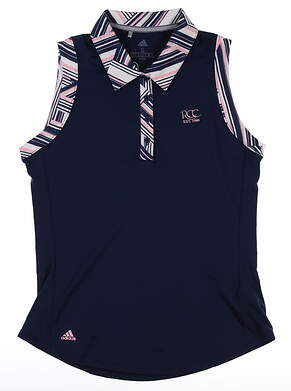 New W/ Logo Womens Adidas Sleeveless Polo Small S Navy Blue MSRP $65