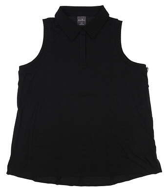 New Womens Belyn Key Rib Trim Sleeveless Polo Medium M Black MSRP $94 TSL0008-ONX