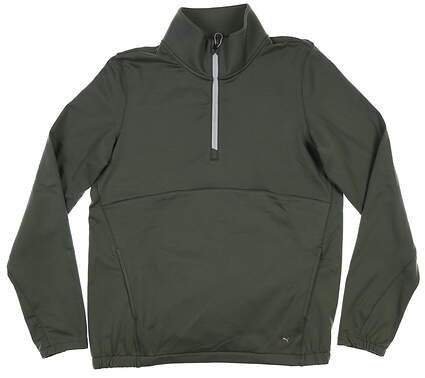 New Womens Puma Cloudspun 1/4 Zip Pullover Small S Thyme 597712 01 MSRP $75